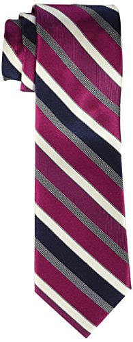 (Rooster Men's Big-Tall Stripe Extra Long Necktie, Berry, XL)