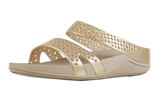Fitflop Welljelly Z-slide Sandals - Sandalias con tacón Mujer Oro (Gold)
