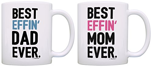 Gifts Mom and Dad Best Effin Mom and Dad Ever Funny Mom Dad Gifts 2 Pack Gift Coffee Mugs Tea Cups White