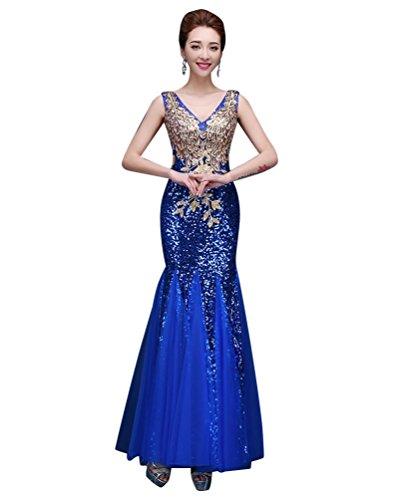 Robe De Royal emily Soirée Moulante Bleu Sans Manches Strass Beauty Paillette wkTOXPiZu