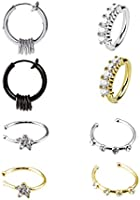 Fake Hoop Nose Ring-Stainless Steel 8 pcs Mens Fake Nose Rings Prevent Allergy No Fading Personality Lip Ear Rings for...