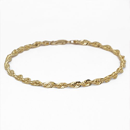 8 Inch 10k Yellow Gold Solid Extra Light Diamond Cut Rope Chain Bracelet for Men and Women, 4mm by SL Chain Collection