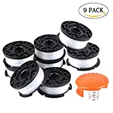 Aunifun String Trimmer Spool and Line, 30ft 0.065'' Trimmer and Edger Replacement for Autofeed BLACK+DECKER, 9 Pack (8 Replacement Spool, 1 Spool Cover Cap)