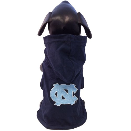 NCAA North Carolina Tar Heels Collegiate Cotton Lycra Hooded Dog Shirt (Team Color, Tiny)
