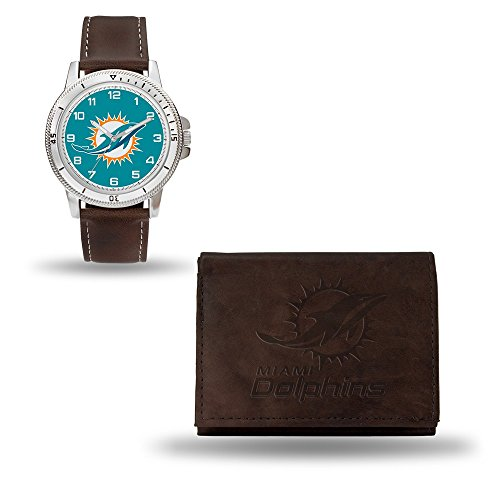 Roy Rose Gifts NFL Miami Dolphins Brown Leather Watch & Wallet -