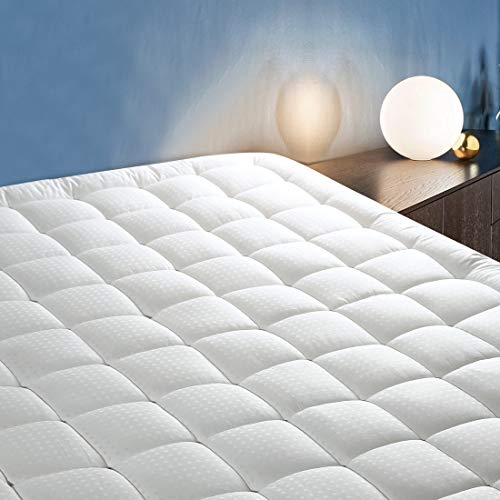"""CottonHouse Queen Size Mattress Topper, Quilted Fitted Mattress Pad Cover Bed Protector Cotton Pillow Top with Down Alternative Fill (8-21"""" Deep Pocket)"""
