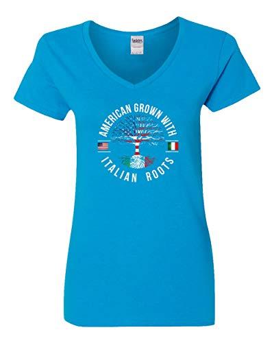 (Societee American Grown with Italian Roots Women's V-Neck T Shirt (Light Blue,2XL))
