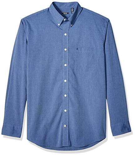(IZOD Men's Button Down Long Sleeve Stretch Performance Solid Shirt, Estate Blue 1, X-Large)
