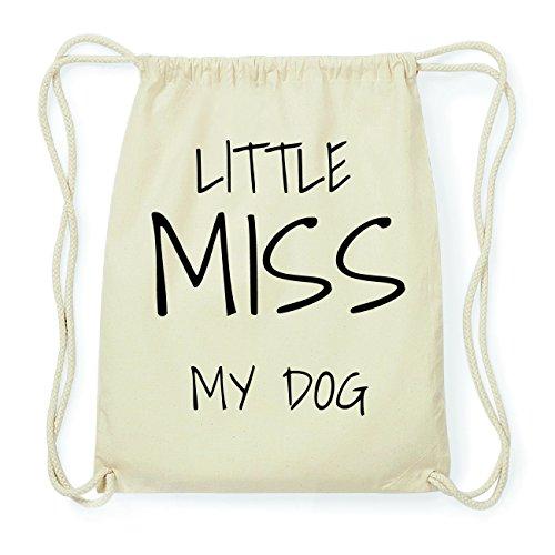 JOllify MY DOG Hipster Turnbeutel Tasche Rucksack aus Baumwolle - Farbe: natur Design: Little Miss