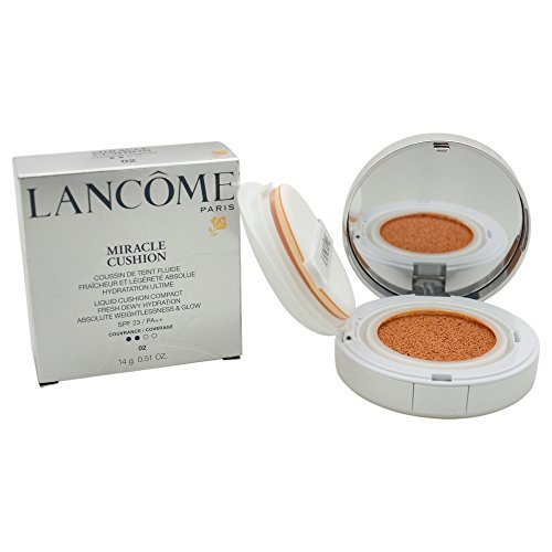 Lancome Liquid Foundation (Lancome Women's # 02 SPF 23/ PA++ Miracle Liquid Cushion Compact Foundation, Biege Rose, 0.51 Ounce)