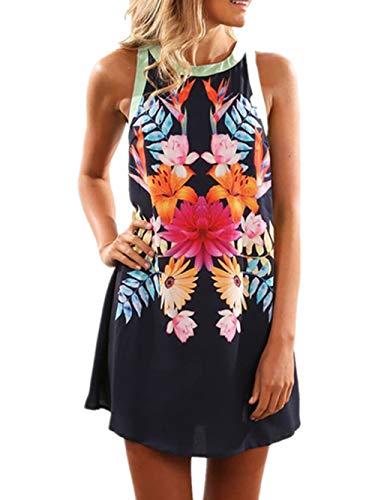 (Happy Saield Women Summer Halter Neck Floral Print Sleeveless Casual Mini Dress L Black)