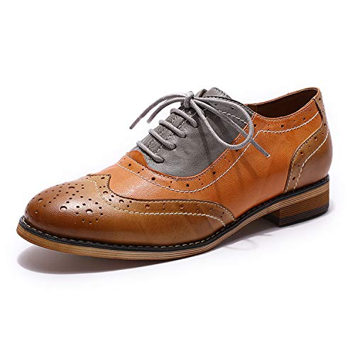 (Mona flying Womens Leather Perforated Brogue Wingtip Derby Saddle Oxfords Shoes for Womens ladis Girls)
