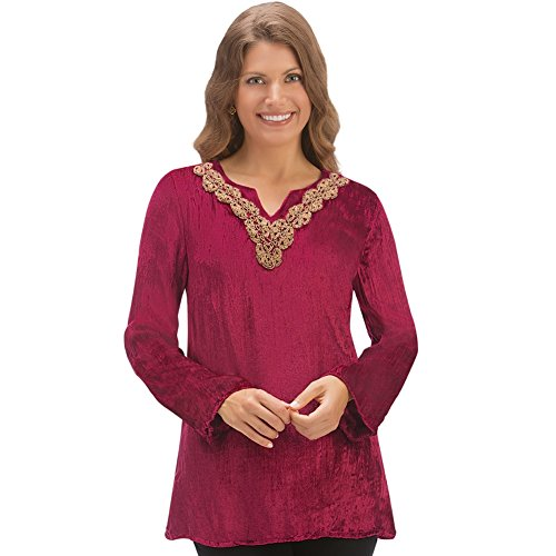 Collections Etc Women's Velvet Embellished Beaded Neckline Tunic, Burgundy, (Beaded Knit Tunic)