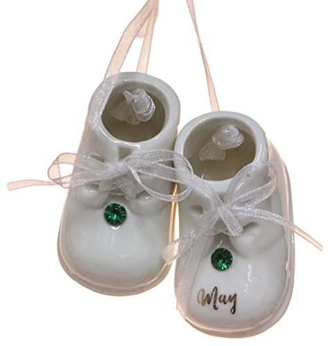 May Birthstone Baby Booties Porcelain Ornament