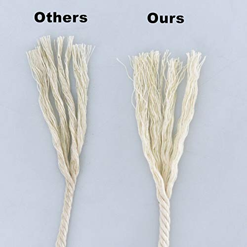 SUNTQ Macrame Cord 4-Strand Twisted 100% Natural Cotton (4mm x 328 Feet) Soft Cotton Rope for Handmade Plant Hanger,Wall Hanging,Crafts,Knitting,Decorative Projects Original Color Cotton String