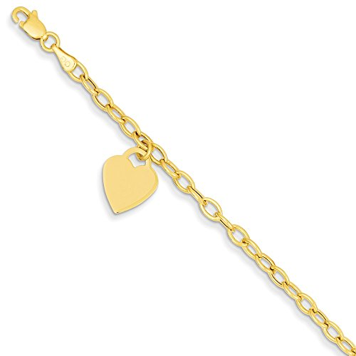 14k Yellow Gold Dangle Heart Bracelet 7.5 Inch Charm W/charm/love Fine Jewelry Gifts For Women For ()