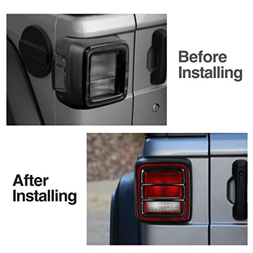 JeCar Metal Tail Light Guard Cover for 2018 Jeep Wrangler JL Sport//Sports Pair Rugged Off Road