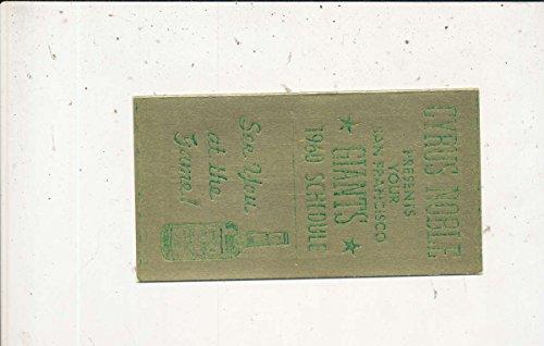 1960 San Francisco Giants Pocket Schedule Cyrus Noble em