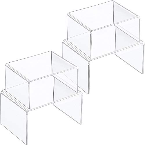 Chuangdi Clear Acrylic Display Risers, Jewelry Display Risers Showcase Fixtures, Tear Off The Protective Film Before Use (4.1 Inch, 5 Inch (Size C)