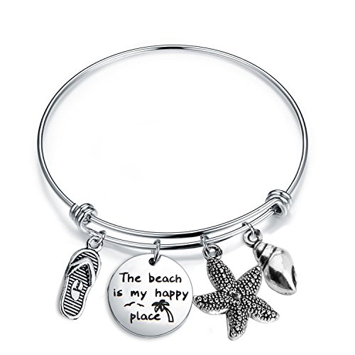 SEIRAA The Beach is My Happy Place Bracelet Expandable Stainless Steel Bangle Beach Jewelry For Beach Lover (Happy ()