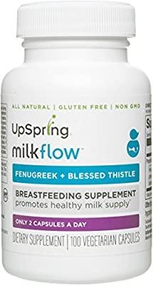 UpSpring Milkflow All-Natural Fenugreek and Blessed Thistle Capsules for Breastmilk Supply, 100 Count Breastfeeding Pills