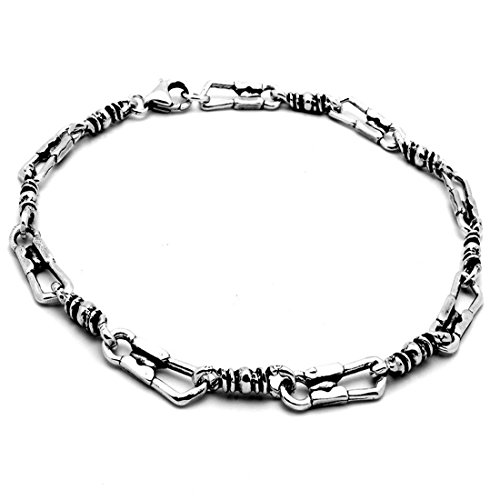 Fisherman Link Bracelet Solid 925 Sterling Silver Oxidize Design Cross