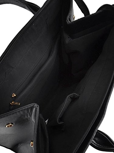 Main Format Pu Cuir Hello A4 Cabas Bandoulière Sac Tavail Lycée Femmes Bag Grainé sac blanc Souple Cours Avec Noir Xl Taille Epaule Tout Fourre À wIqRUIpx