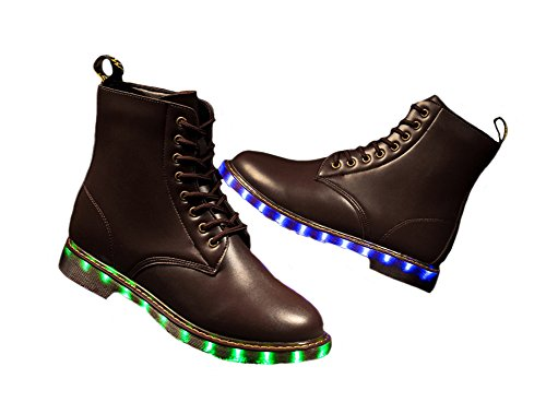 Tortureur 1bacha Hommes Femmes Led Lumière Clignotant Lueur Lumineux Chaussures Bottes De Combat En Cuir Marron
