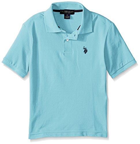 U.S. Polo Assn. Boys' Classic Short Sleeve Solid Pique Polo Shirt, Capri Heather, 2T