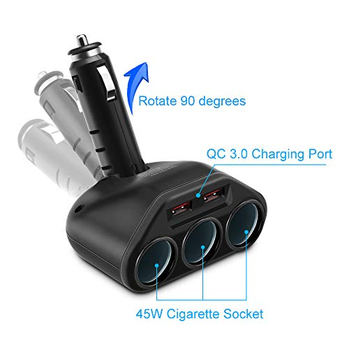 Rocketek 3-Socket 2-Port USB Quick Charge 3.0 Car Charger Splitter Adapter,120W 12V/24V DC Outlet Multi Socket Car Cigarette Lighter Splitter QC3.0 Dual Car Charger Power Outlet Splitter Extender