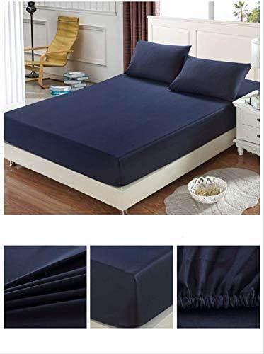 XSHIYQ Coton Couleur Unie Drap-Housse Drap Housse de Matelas à Quatre Coins avec Bande élastique Drap de lit Pas de taie d'oreiller 200x200x25 cm 1 pièce comme indiqué