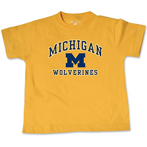 NCAA Michigan Wolverines Toddler Short Sleeve Tee, 3 Toddler, Athletic Gold