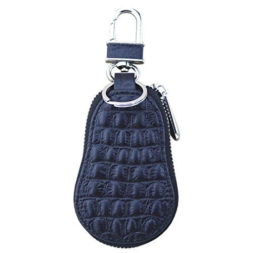 (Esdrem Crocodile Leather Car Keychain Key Holder Bag Zippered Key Fob Case Remote Wallet Bag)