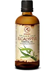 Aceite Esencial Eucalipto 100ml - Eucalyptus Globulus - 100% Puro & Natural - usar para Buen humor - Relax - Mejor para la Belleza - Aromaterapia - Masaje - SPA - Baño - Sauna