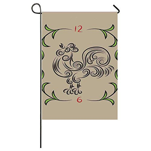 C COABALLA Kitchen Decor Utility Garden Flag,Rooster and Floral Art Decorative Clock Time Swirls Leaves Farm Animal Theme Decoration for Home,40
