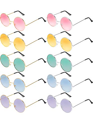 (Blulu 10 Pairs Round Hippie Sunglasses John 60's Style Circle Colored Glasses (Gold Silver Frame))