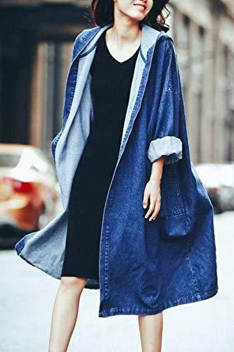 Capucha Azul Joven Invierno Manga Unicolor Mezclilla Bolsillos Abrigo Parkas Con Moda Chaqueta Mujeres Delanteros Jeans De Battercake Larga Mujer Chaquetas Casuales Anchos wER1qT