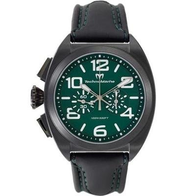 TechnoMarine Unisex 409002 US Navy Black PVD Case Green Dial Black Leather Watch