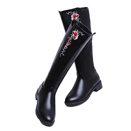 Kolylong® Stiefel Stiefel Schuhe Lang Frauen damen Leder Herbst Stickerei Stiefel Vintage PU Elegant Winter Mädchen Rose Warm Freizeit Schwarz Flache Schuhe Stiefel Martin CCr5nwc1