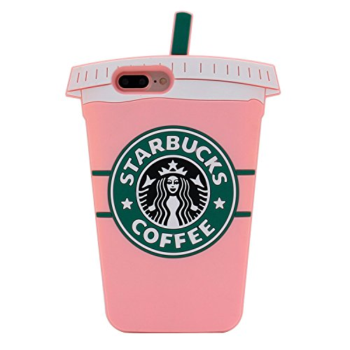 Pink Starbucks Coffee Cup Case for iPhone 7+ 7Plus 8+ 8Plus Large Size Soft Silicone Rubber Shockproof 3D Cartoon Cool Fun Bold Cute High Fashion Hot Gift Women Girls Teens Kids