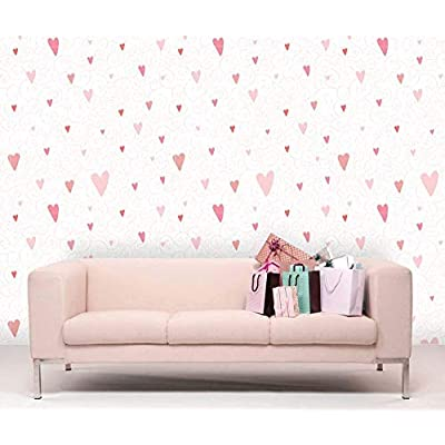Majestic Portrait, Classic Design, Large Wall Mural Heart and Floral Decorative Pattern Vinyl Wallpaper Removable Decorating