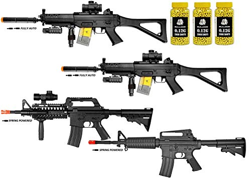 A&N Airsoft Gun Package Collection of 4 Airsoft Guns - 2 X Full AUTO Airsoft Electric Rifle Gun - Spring Powered M16 Airsoft Rifle - Spring Powered M4 Airsoft Rifle - Bulldog 6000 0.12G BB PELLETS