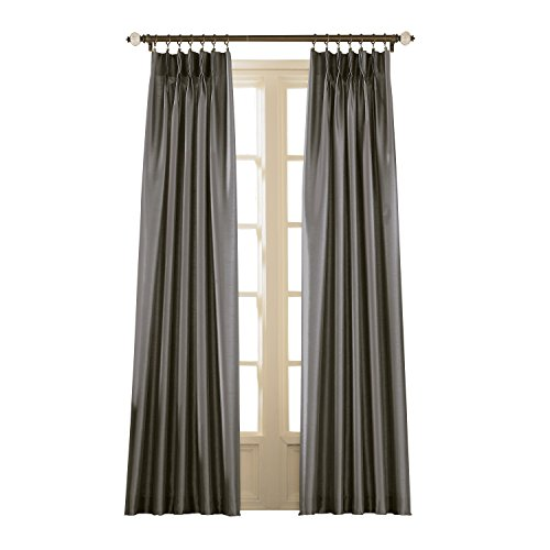 Curtainworks Marquee Pinch Pleat Curtain Panel, Pewter, Faux Silk, 30-Inch x 108 Inch, Solid