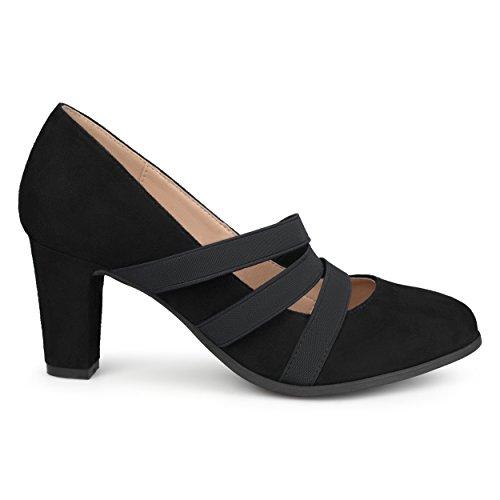 - Brinley Co. Womens Levin Faux Suede Comfort Sole Chunky Heel Almond Toe Triple Elastic Strap Heels Black, 8.5 Regular US