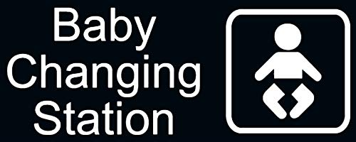New Baby Changing Station Sign, 8 x 3 in with English and Symbol, Black for Men, Women, Unisex
