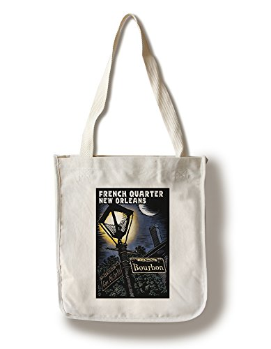 French Quarter - New Orleans, Louisiana - Bourbon Street - Scratchboard (100% Cotton Tote Bag - - New Orleans French Shopping Quarter