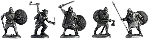(Set of 5 Vikings Tin Toy Soldiers Metal Sculpture Miniature Figure Collection 40 mm (scale 1/43))