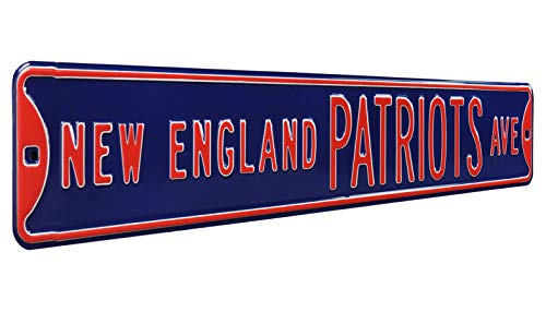 Fremont Die NFL New England Patriots Metal Wall Décor- Large, Heavy Duty Steel Street Sign -