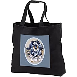 Dogs Dachshund - Long Hair Dapple Dachshund - Tote Bags - Black Tote Bag 14w x 14h x 3d (tb_596_1)