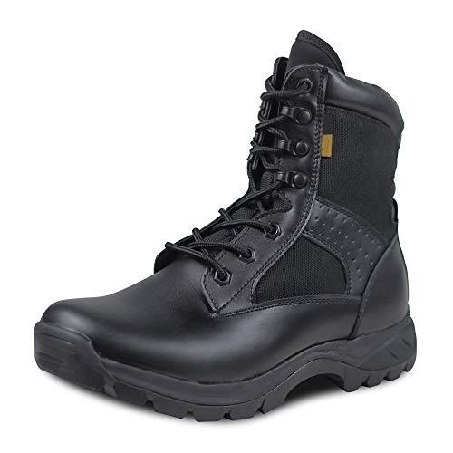 Ludey Men's Military Combat Boots Tactical Boots Nylon Work & Safety Boots Outdoor Water Resistant Boots IDS-672 Black 7.5 US